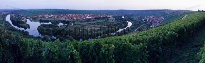 Blick von der Vogelsburg auf die Mainschleife bei Nordheim  Abenddaemmerung am 13 09 06