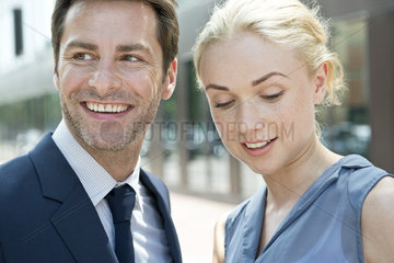 Real estate agent with potential buyer