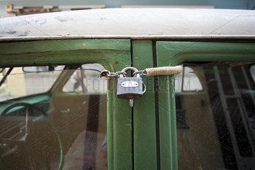 Car locked with padlock