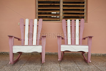 Colorful rocking chairs