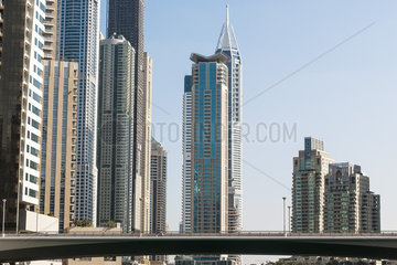 Modern skyscrapers  Dubai  United Arab Emirates