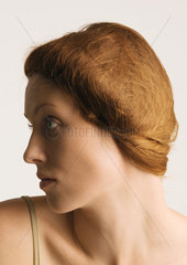 Woman with hair back  profile