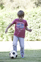 Boy kicking soccer