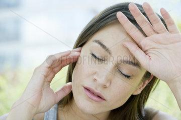Woman in discomfort