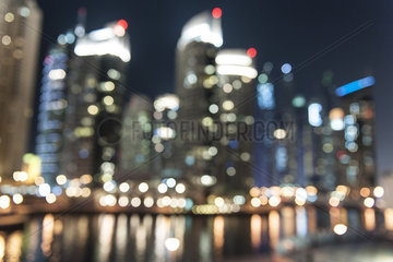 Illuminated skyscrapers  defocused
