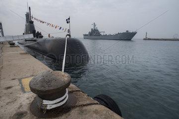 Das U-Boot HS PAPANIKOLIS im Hafen von Thessaloniki