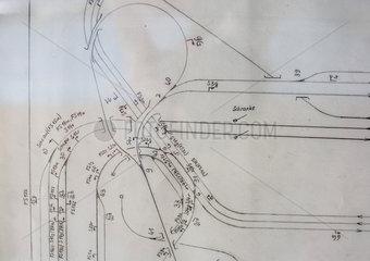 Bauplan einer Eisenbahnanlage