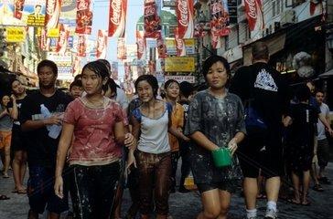 Songhran Festival in Bangkok-Khaosarn Road  Bangkok  THA  THAILAND