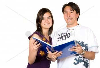 casual young students over a white background