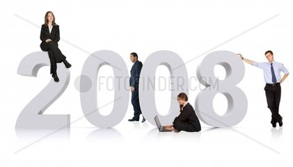 business new year2008 isolated over a white background