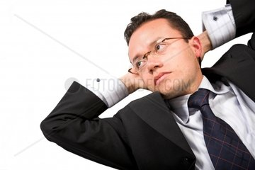 business expectationsguy with a dreamy look over white