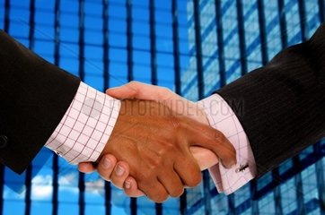 diverse business men shaking hands in a corporate environment