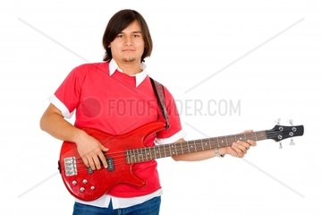 male guitarist in a band isolated over a white background