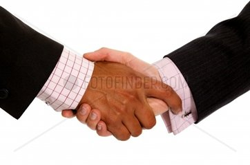 diverse business men shaking hands isolated over a white background