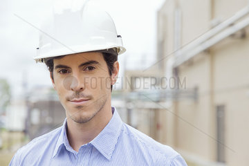 Engineer at industrial site  portrait
