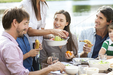 Family enjoying healthy picnic