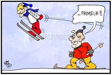 Merkel et Macron en vacances au ski