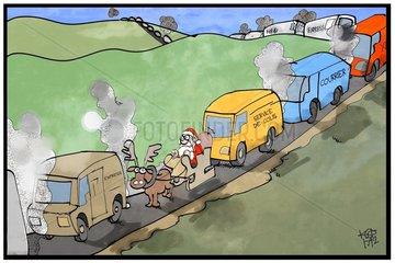 Le père Noel et l'embouteillage