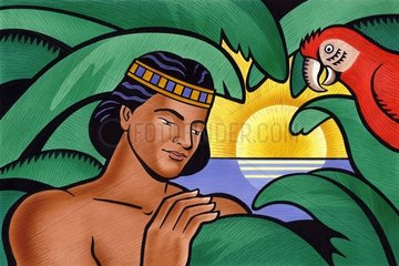 Indianer mit Papagei