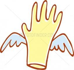 Befluegelter Handschuh