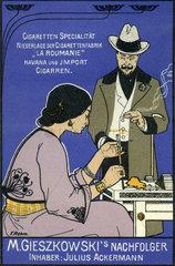 Tabakgeschaeft Muenchen 1899  Reklame
