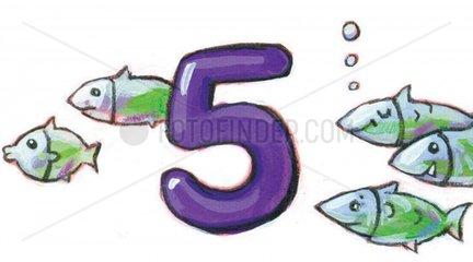 Zahlentiere 5 Fische Serie