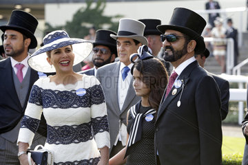 Royal Ascot  Portrait of Sheikh Mohammed bin Rashid al Maktoum  his daughter Jalila and his wife Princess Haya of Jordan