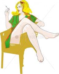 Frau rauchend