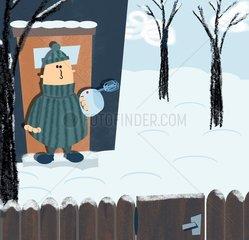 Schneefegen mit Schneebesen