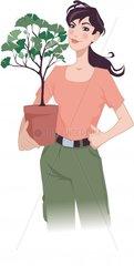 Frau mit Ginkgobaum