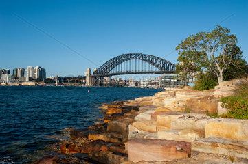 Sydney  Australien  Sydney Harbour Bridge vom Millers Point in Barangaroo