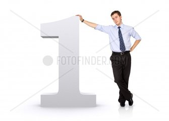 number one with a business man next to itisolated over a white background