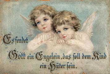Schutzengelbild  altes Wandbild  1900