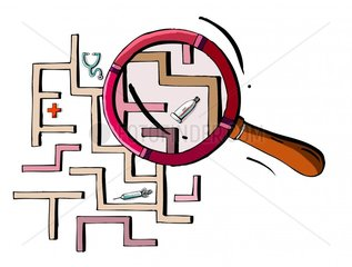 Lupe Labyrinth Stetoskop Tube Kreuz Medizin Irrweg Spritze wege