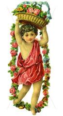Kind mit Blumen  Poesiebild  1894