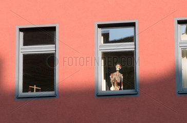 Berlin  Deutschland  ein menschliches Skelett steht an einem Fenster