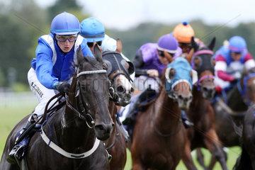 Iffezheim  Pferde und Jockeys im Rennen. Star Focus mit Koen Clijmans in Front