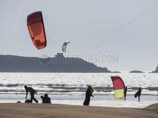 Kitesurfing off the beach; Essaouira  Morocco