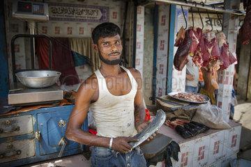 Fleischverkauf auf einer Strasse in Bangladesch