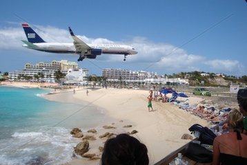 Landung am Airport von Sint Maarten