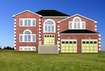 countryside house made in a 3d program with a beautiful blue sky and green grass