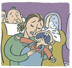Schreiendes Baby im Flugzeug