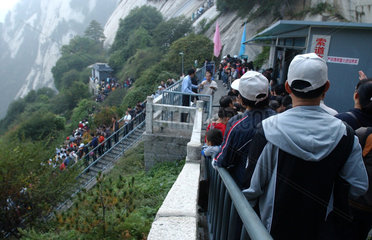 China  Tourismus auf dem Huashan-Berg in der Shanxi Provinz