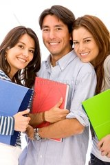 college or university students in a rowisolated