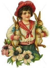 Junge mit zwei Hasen  Illustration  1900