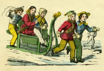 Kinder beim Schlittenfahren  1855