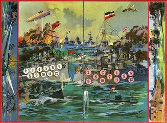 patriotisches Brettspiel  Seekrieg  Erster Weltkrieg  1915