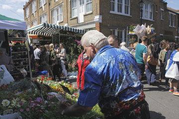 Blumenmarkt an der Columbia Road in London