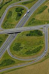 Plauen  Deutschland  Luftaufnahme einer Autobahnauffahrt an der A72 bei Plauen