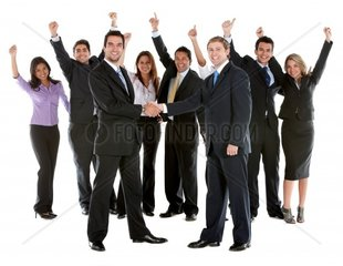 very happy business group full of success isolated on white